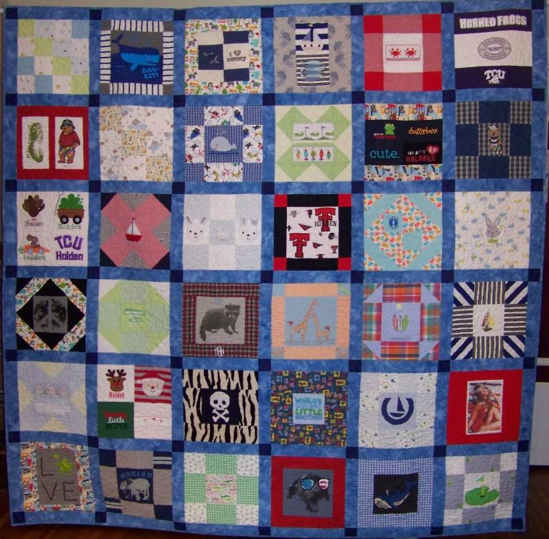 This memory quilt was made from 40 silk ties.